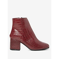 Dorothy Perkins - Wide fit burgundy aubree croc ankle boots