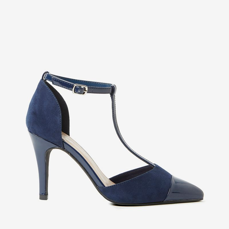 Dorothy Perkins - Wide Fit Navy Microfiber Game Court Shoes