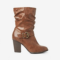 Dorothy Perkins - Wide fit tan polyurethane klarissa slouch boots