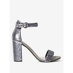 Dorothy Perkins - Wide fit pewter sequin shimmy block heel sandals