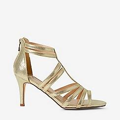 Dorothy Perkins - Wide fit gold textured sara heeled sandals