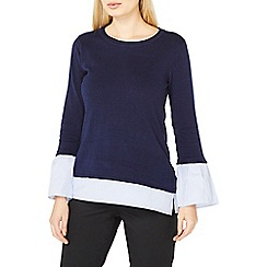 Dorothy Perkins - Navy woven cuff 2-in-1 jumper