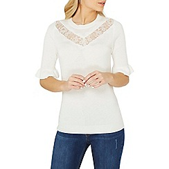 Dorothy Perkins - Ivory lace insert t-shirt