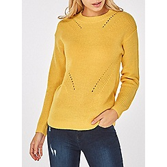 Dorothy Perkins - Yellow ribbed front-stitch jumper