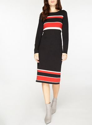 Dorothy Perkins   Black Multi Coloured Striped Knitted Pencil Dress by Dorothy Perkins