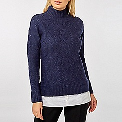 Dorothy Perkins - Navy funnel neck cable 2 in 1 jumper