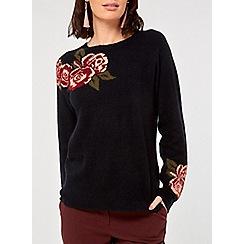 Dorothy Perkins - Navy floral jacquard jumper