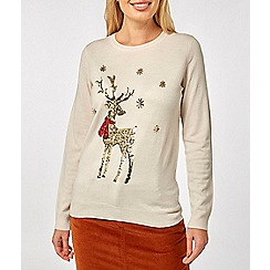 Dorothy Perkins - Ivory sequin stag jumper