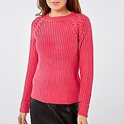 Dorothy Perkins - Pink cable shoulder jumper