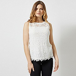 Dorothy Perkins - Ivory Floral Lace Shell Top