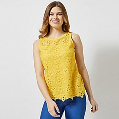 Dorothy Perkins - Yellow Floral Lace Shell Top