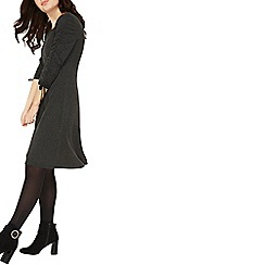 Dorothy Perkins - Charcoal ruched sleeve fit and flare dress
