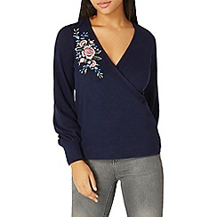 Dorothy Perkins - Navy floral embroidered wrap front top