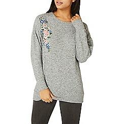 Dorothy Perkins - Grey floral embroidered jumper