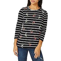 Dorothy Perkins - Navy floral print striped top