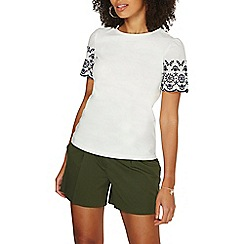 Dorothy Perkins - Ivory broderie sleeve t-shirt