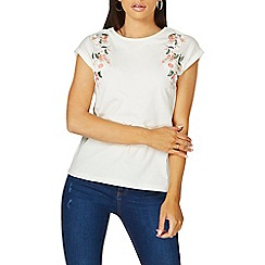 Dorothy Perkins - Ivory embroidered t-shirt