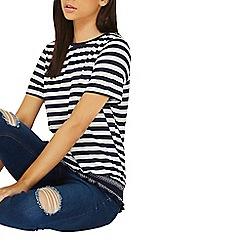 Dorothy Perkins - Navy striped shirred hem top