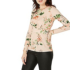 Dorothy Perkins - Peach floral twist front top