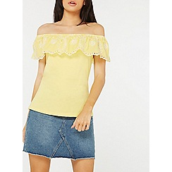 Dorothy Perkins - Lemon ruffle broidery bardot top
