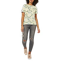 Dorothy Perkins - Lemon-yellow floral print t-shirt
