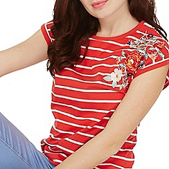 Dorothy Perkins - Red striped embroidered t-shirt