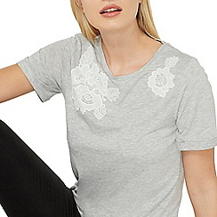 Dorothy Perkins - Grey lace applique t-shirt
