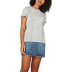 Dorothy Perkins - Grey frill short sleeve t-shirt