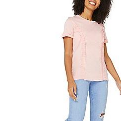 Dorothy Perkins - Pink frill short sleeve t-shirt