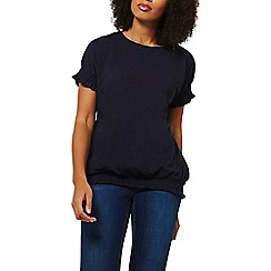 Dorothy Perkins - Navy ruched cuff and hem t-shirt