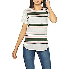 Dorothy Perkins - Khaki striped curve hem t-shirt