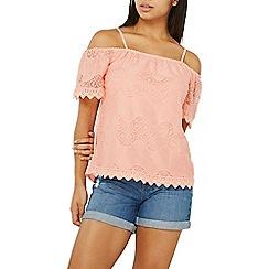 Dorothy Perkins - Pink lace cold shoulder top