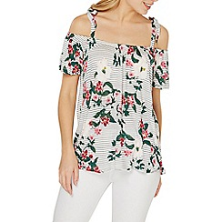 Dorothy Perkins - Ivory floral cold shoulder top