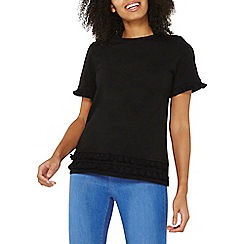 Dorothy Perkins - Black pom pom trim t-shirt