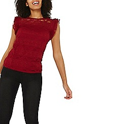 Dorothy Perkins - Red frill lace shell top