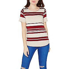 Dorothy Perkins - Red and oatmeal striped curve hem t-shirt