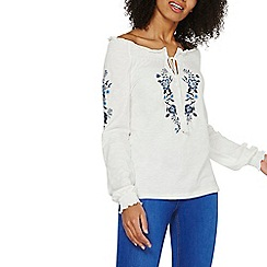 Dorothy Perkins - Ivory embroidered boho top