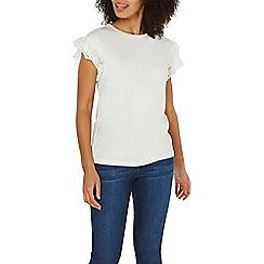 Dorothy Perkins - Ivory pearl mesh sleeve t-shirt