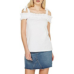 Dorothy Perkins - Ivory ruffle cold shoulder top