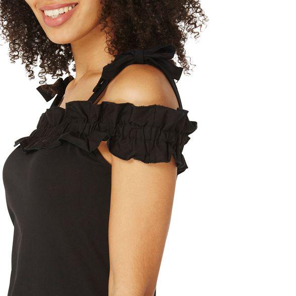 Black top Perkins Dorothy cold ruffle shoulder qxawZwPH