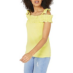 Dorothy Perkins - Yellow ruffle cold shoulder top
