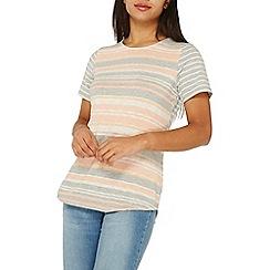 Dorothy Perkins - Apricot striped curve hem t-shirt