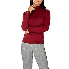 Dorothy Perkins - Burgundy buttoned turtle neck top