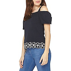 Dorothy Perkins - Navy trim cold shoulder top