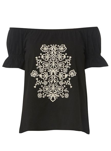 embroidered bardot Perkins top Dorothy Black Rwqxf4Eg
