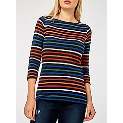 Dorothy Perkins - Multicoloured striped 3/4 sleeves crew neck t-shirt