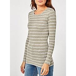 Dorothy Perkins - Grey stripe crew neck top