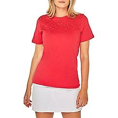 Dorothy Perkins - Raspberry cutwork t-shirt