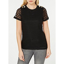 Dorothy Perkins - Black textured lace t-shirt