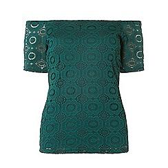 Dorothy Perkins - Green geometric lace bardot top